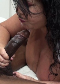 Nurse Carol happily Strokes, Sucks and Titty Fucks her patient with his big black cock to screen his problems.
