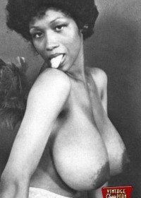 Sweet Sylvia McFarland shows her huge black natural breasts