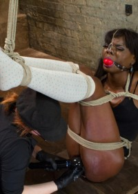 Amazing Ana Foxxx submits to very strict and challenging bondage including inverted spread eagle suspension, ball tie strappado, and strict straddle spread!
