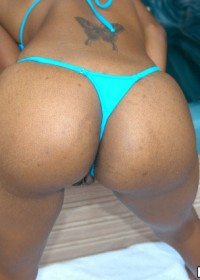 Brown babe in aqua thong getting banged every which way