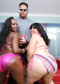 Mz.Twilight & Toni suck and fuck big black dick with their fat booties!