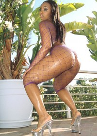 Ebony babe in fishnet clothes gets a big black cock in her