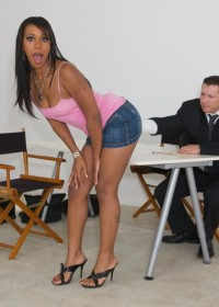 Horny black babe will do anything to get to the top!