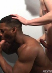 Hot dudes sucking cock from a glory hole and each other cock