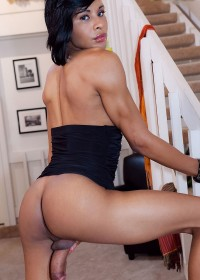 Black Shemale shows off her big, black cock, hot ass, and lovely tits
